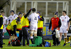 England U20's Dino Lamb is treated for a head injury