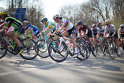 Lizzie Armitstead (Boels-Dolmans Cycling Team) rides in the main pack in the first, short lap of Trofeo Alfredo Binda - a 123.3km road race from Gavirate to Cittiglio on March 20, 2016 in Varese, Italy.