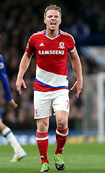 8 May 2017 - Premier League Football - Chelsea v Middlesbrough<br /> Grant Leadbitter of Boro argues with the decision of the linesman<br /> Photo: Charlotte Wilson