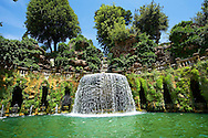 waterfall of The oval fountain, 1567, Villa d'Este, Tivoli, Italy - Unesco World Heritage Site. .<br /> <br /> Visit our ITALY PHOTO COLLECTION for more   photos of Italy to download or buy as prints https://funkystock.photoshelter.com/gallery-collection/2b-Pictures-Images-of-Italy-Photos-of-Italian-Historic-Landmark-Sites/C0000qxA2zGFjd_k<br /> If you prefer to buy from our ALAMY PHOTO LIBRARY  Collection visit : https://www.alamy.com/portfolio/paul-williams-funkystock/villa-este-tivoli.html