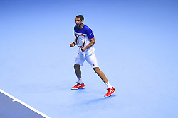 November 14, 2017 - London, England, United Kingdom - Marin Cilic of Croatia celebrates a point in his Singles match against Jack Sock of the USA on day three of the Nitto ATP World Tour Finals at O2 Arena, London on November 14, 2017. (Credit Image: © Alberto Pezzali/NurPhoto via ZUMA Press)