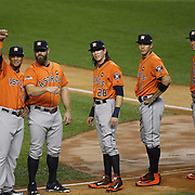 Houston Astros players salute family members and supporters in the crowd before the New York Yankees Vs Houston Astros, Wildcard game at Yankee Stadium, The Bronx, New York. 6th October 2015 Photo Tim Clayton for The Players Tribune