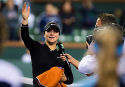 March 15, 2019 - Indian Wells, USA - Bianca Andreescu of Canada after winning her semi-final at the 2019 BNP Paribas Open WTA Premier Mandatory tennis tournament (Credit Image: © AFP7 via ZUMA Wire)