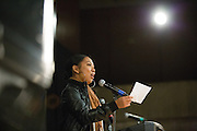 San Jose State University English major Angel Serran (Class of 2013) performs her original poem, Momma Knows Best, during Humanities & Arts Day Student Showcase at San Jose State University's Student Union Barrett Ballroom in San Jose, California, on October 25, 2013. (Stan Olszewski/SOSKIphoto)
