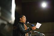 San Jose State University English major Angel Serran (Class of 2013) performs her original poem, Momma Knows Best, during Humanities & Arts Day Student Showcase at San Jose State University's Student Union Barrett Ballroom in San Jose, California, on October 25, 2013. (Stan Olszewski/SOSKIphoto)