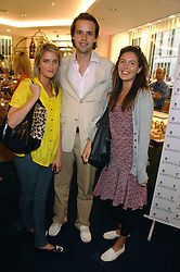 Left to right, VIOLET VON WESTENHOLZ, CHARLIE GILKES and AMANDA SHEPPARD  at the launch party for the Mappin & Webb Regents Street branch at 132 Regent Street, London on 19th June 2007.<br />