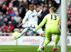 Martin Olsson of Swansea City challenges Jordan Pickford of Sunderland - Mandatory by-line: Robbie Stephenson/JMP - 13/05/2017 - FOOTBALL - Stadium of Light - Sunderland, England - Sunderland v Swansea City - Premier League