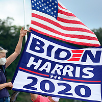 Supporters of former Vice President and Democratic candidate for President  Joe Biden gather at the Hazelwood Green complex just outside of Pittsburgh hoping to catch a glance of their candidate on Monday, August 3, 2020 in Pittsburgh.   Photo by Archie Carpenter/UPI