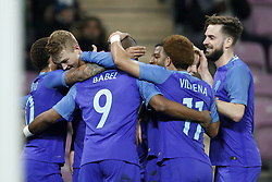 (L-R) Memphis Depay of Holland, Matthijs de Ligt of Holland, Ryan Babel of Holland, Georginio Wijnaldum of Holland, Tonny Vilhena of Holland, Donny van de Beek of Holland, Davy Propper of Holland during the International friendly match match between Portugal and The Netherlands at Stade de Genève on March 26, 2018 in Geneva, Switzerland