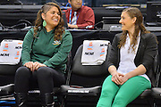 April 4, 2016; Indianapolis, Ind.; Assistant coaches Shaina Afoa and Alysa Horn sit on the bench before the NCAA Division II Women's Basketball National Championship game at Bankers Life Fieldhouse between UAA and Lubbock Christian. The Seawolves lost to the Lady Chaps 78-73.