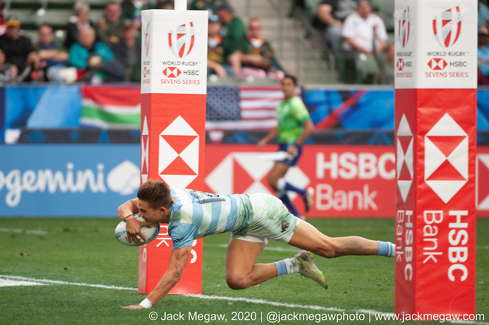 Argentina and Canada compete in the 9th place playoff of the 2020 Los Angeles Sevens at Dignity Sports Health Park in Los Angeles, California. March 1, 2019. <br /> <br /> © Jack Megaw, 2020
