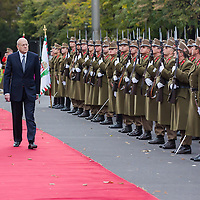 Viktor Orban (R) prime minister of Hungary and his counterpart Najib Azmi Mikat (L) prime minister of Lebanon inspect the guard of honor during a welcoming ceremony in Budapest, Hungary on November 06, 2012. ATTILA VOLGYI
