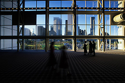 Houston, Texas skyline viewed from inside the George R. Brown Convention Center.