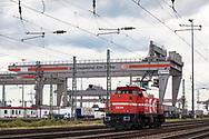 freight station Cologne Eifeltor, it is Germany's largest freight station for combined rail-road freight, Cologne, Germany.<br /> <br /> der Gueterbahnhof Koeln Eifeltor, es ist Deutschlands groesster Containerumschlagbahnhof für den kombinierten Frachtverkehr Schiene–Strasse, Koeln, Deutschland.