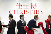 "Steven P. Murphy, chief executive officer of Christie's International, bows after he cuts a ribbon after announcing Christie's very first mainland China auction in Shanghai, China September 23,  2013. Both Southeby's and Christie's have opened an office in Mainland China in the past year, however they face overwhelming odds as China's state-owned auction houses such as Poly and Jiamu enjoys a near monopoly over China's art procurement market as foreigners are not allowed to buy vaguely defined ""historical"" art."