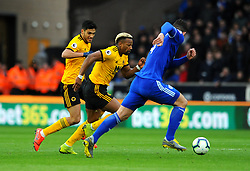 Sean Morrison of Cardiff City applies pressure on Adama Traore of Wolverhampton Wanderers- Mandatory by-line: Nizaam Jones/JMP - 02/03/2019 - FOOTBALL - Molineux - Wolverhampton, England -  Wolverhampton Wanderers v Cardiff City - Premier League