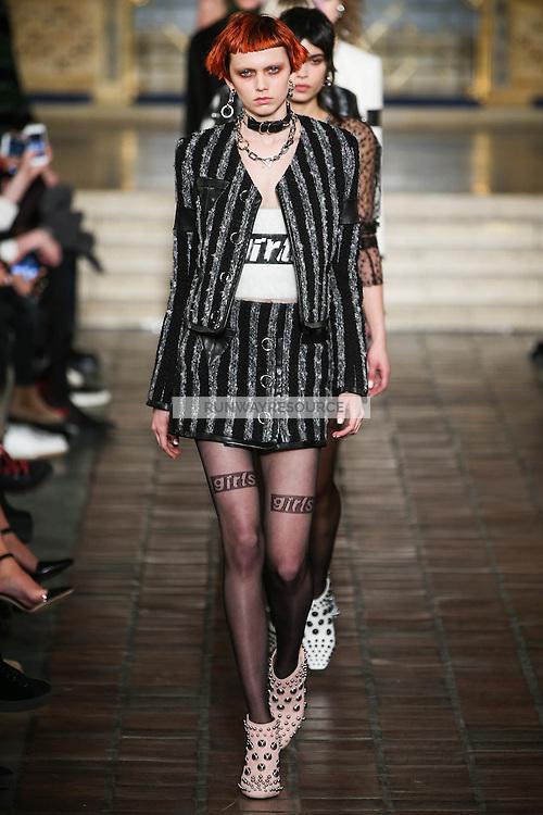 Katie Moore walks the runway wearing Alexander Wang Fall 2016 during New York Fashion Week on February 13, 2016