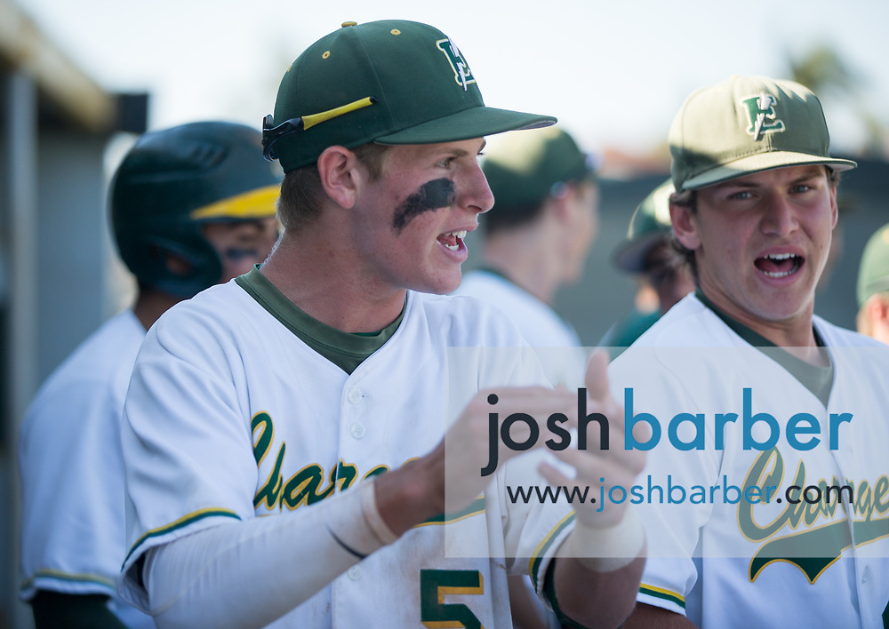 Edison's Ted Burton (5) cheers during the seventh inning of a CIF-SS Division 2 second round game against Moorpark at Edison High School on Tuesday, May 23, 2017 in Huntington Beach, California. (Photo/Josh Barber)