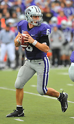 Nov 14, 2009; Manhattan, KS, USA; Kansas State quarterback Grant Gregory (6) drops back to pass in the first half against the Missouri Tigers at Bill Snyder Family Stadium. Mandatory Credit: Denny Medley-US PRESSWIRE
