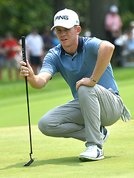August 12, 2018 - St. Louis, Missouri, U.S. - ST. LOUIS, MO - AUGUST 12: Brandon Stone lines up a putt on the #1 green during the final round of the PGA Championship on August 12, 2018, at Bellerive Country Club, St. Louis, MO.  (Photo by Keith Gillett/Icon Sportswire) (Credit Image: © Keith Gillett/Icon SMI via ZUMA Press)
