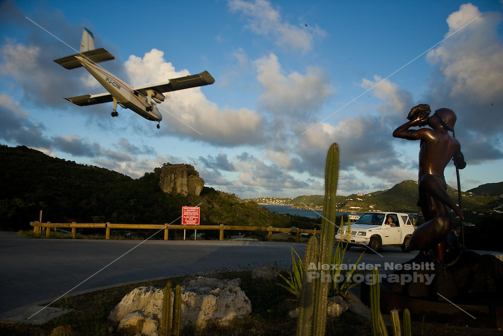 Gustavia, St Barthes - The famous very close final approach of the STOL planes landing at the airport