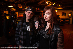 Savannah Rose and Brad Gregory at a Standard Motorcycle Co party during Daytona Bike Week. Orlando, FL. USA. Saturday March 10, 2018. Photography ©2018 Michael Lichter.
