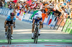 Arrival / Bjorg Lambrecht of Belgium / Jaakko Hanninen of Finland / During the Men Under 23 Road Race a 179.9km Race from Kufstein to Innsbruck 582m at the 91st UCI Road World Championships 2018 / RR / RWC / on September 28, 2018 in Innsbruck, Austria. Photo by Vid Ponikvar / Sportida