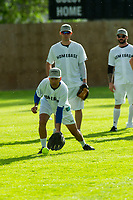 KELOWNA, CANADA - JUNE 28: Kelowna Mayor Colin Basran warms up in the field ahead of Montreal Canadiens goalie Carey Price during the opening charity game of the Home Base Slo-Pitch Tournament fundraiser for the Kelowna General Hospital Foundation JoeAnna's House on June 28, 2019 at Elk's Stadium in Kelowna, British Columbia, Canada.  (Photo by Marissa Baecker/Shoot the Breeze)