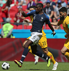 KAZAN, June 16, 2018  Paul Pogba (C) of France breaks through with the ball during a group C match between France and Australia at the 2018 FIFA World Cup in Kazan, Russia, June 16, 2018. France won 2-1. (Credit Image: © Yang Lei/Xinhua via ZUMA Wire)