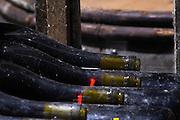 old bottles in the cellar domaine guyot marsannay cote de nuits burgundy france