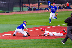 NORMAL, IL - May 01: Joe Butler slides into 3rd with Jake Means covering during a college baseball game between the ISU Redbirds and the Indiana State Sycamores on May 01 2019 at Duffy Bass Field in Normal, IL. (Photo by Alan Look)