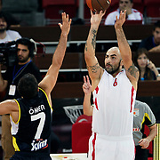 Olimpiakos's Pero ANTIC (R) during their Two Nations Cup basketball match Fenerbahce Ulker between Olimpiakos at Abdi Ipekci Arena in Istanbul Turkey on Saturday 01 October 2011. Photo by TURKPIX