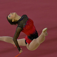 Dora Vass performs her routine during the First Hungarian Rythmic Gymnastics World Cup held in  Papp Laszlo Sports Arena.