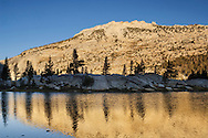 Morning light on mountain reflected in Booth Lake; Vogelsang region; Yosemite National Park; California