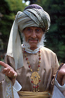 British actor Peter Cushing seen in costume during the filming of Arabian Adventure at Pinewood Studios, UK in August 1978.He was famous for his parts in horror movies. Photographed by Jayne Fincher