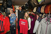 Resort Services Supervisor Jeremy Stottlar, Manager Ben Jensen and Anneliese Buttinger employee in-training at the newly renovated Gunstock Ski and Sport Shop at Gunstock Mountain.   Karen Bobotas/for the Laconia Daily Sun)