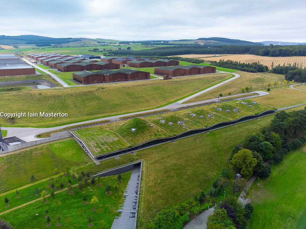 Aerial view from drone of Macallan  scotch whisky distillery visitor centre and warehouses on Speyside at Craigellachie, Moray, Scotland, UK
