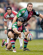 2004/05 Zurich Premiership,NEC Harlequins vs Gloucester, The Stoop,Twickenham, ENGLAND:<br /> Quins scrum half Steve So'oialo, moves the ball out from the scrum as Quins No. 8 Tony Diprose look's on.<br /> <br /> Twickenham. Surrey, UK., 5th February 2005, Zurich Premiership Rugby,  The Stoop,  [Mandatory Credit: Peter Spurrier/Intersport Images],