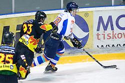 Anze Ahacic of Triglav at SLOHOKEJ league ice hockey match between HK Slavija and HK Triglav Kranj, on February 3, 2010 in Arena Zalog, Ljubljana, Slovenia. Triglaw won 4:1. (Photo by Vid Ponikvar / Sportida)