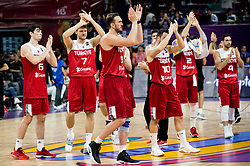 Cedi Osman of Turkey, Baris Hersek of Turkey, Semih Erden of Turkey after the basketball match between National Teams of Spain and Turkey at Day 11 in Round of 16 of the FIBA EuroBasket 2017 at Sinan Erdem Dome in Istanbul, Turkey on September 10, 2017. Photo by Vid Ponikvar / Sportida