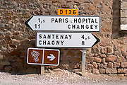 road sign dezize les maranges santenay cote de beaune burgundy france