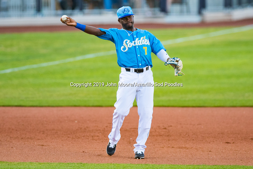 Amarillo Sod Poodles infielder Ruddy Giron (7) shows to first base against the Tulsa Drillers on Sunday, June 16, 2019, at HODGETOWN in Amarillo, Texas. [Photo by John Moore/Amarillo Sod Poodles]
