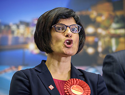 © Licensed to London News Pictures.  09/06/2017; Bristol, UK. General Election 2017; THANGAM DEBBONAIRE is returned in Bristol West for Labour at City of Bristol Academy, with what may be the largest majority in the UK of 37,366. Picture credit : Simon Chapman/LNP