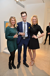 Left to right, CLEMENTINE JOHNSTON, BENEDICT WINTER and BRONTE JOHNSTON at a private view of Bright Young Things held at the David Gill Gallery, 2-4 King Street, London on 19th April 2016.
