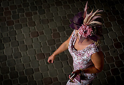 May 4, 2018 - Louisville, Kentucky, U.S. - A woman wearing her Derby Hat on Kentucky Oaks Day at Churchill Downs in Louisville, Ky, May 4, 2018. (Credit Image: © Bryan Woolston via ZUMA Wire)