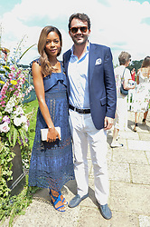 NAOMIE HARRIS and PETER LEGLER at The Royal Salute Coronation Cup Polo held at Guards Polo Club,  Smiths Lawn, Windsor Great Park, Egham on 23rd July 2016.