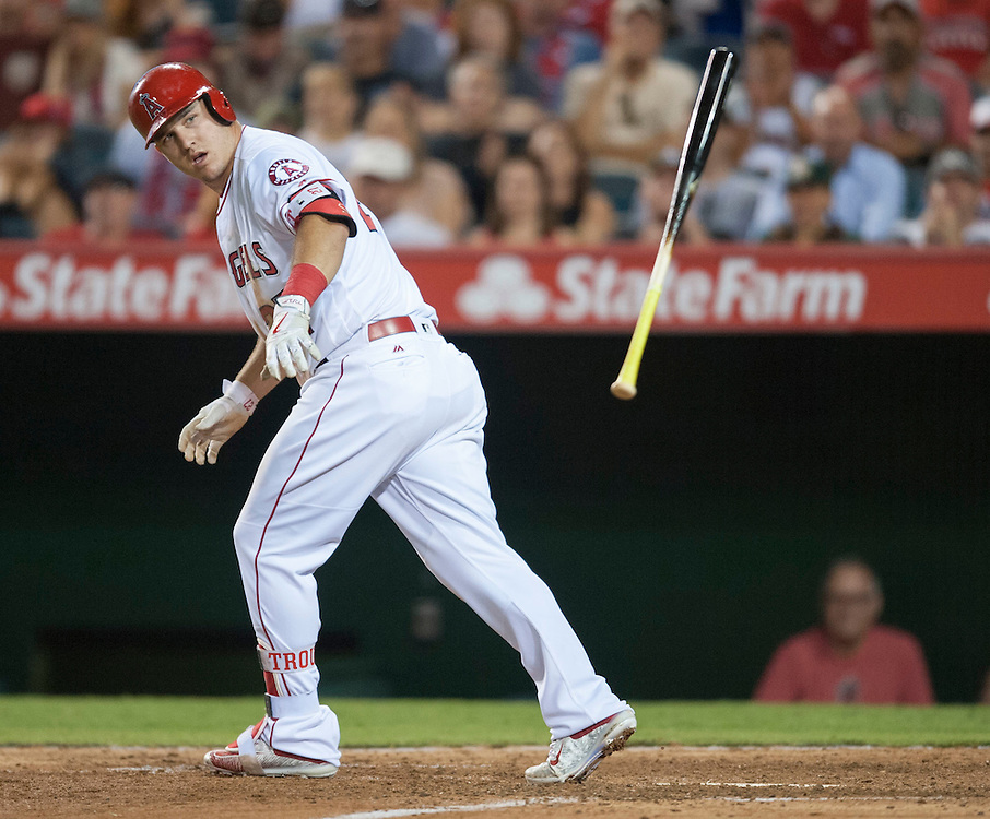 The Angels' Mike Trout is walked in the seventh inning during the Angels' 5-4 victory over the Oakland Athletics at Angel Stadium on Tuesday.<br /> <br /> ///ADDITIONAL INFO:   <br /> <br /> angels.0803.kjs  ---  Photo by KEVIN SULLIVAN / Orange County Register  -- 8/2/16<br /> <br /> The Los Angeles Angels take on the Oakland Athletics at Angel Stadium.