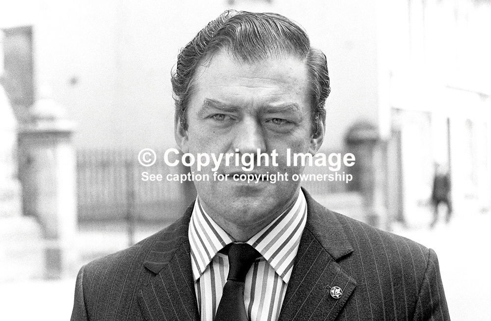 Ernest Baird, Vanguard Unionist, candidate, Fermanagh & South Tyrone, Assembly Election, N Ireland, 1973, businessman, owner, pharmacy chain, 197306050351c.<br /> <br /> Copyright Image from Victor Patterson, Belfast, UK<br /> <br /> t: +44 28 9066 1296 (from Rep of Ireland 048 9066 1296)<br /> m: +44 7802 353836<br /> e: victorpattersonbelfast@gmail.com<br /> <br /> www.images4media.com<br /> <br /> Please see my full Terms and Conditions of Use at https://www.images4media.com/p/terms-conditions - it is IMPORTANT that you familiarise yourself with them.<br /> <br /> Images used online incur an additional cost. This cost should be agreed in writing in advance. Online images must be visibly watermarked i.e. © Victor Patterson or that of the named photographer within the body of the image. The original metadata must not be deleted from images used online.<br /> <br /> This image is only available for the use of the download recipient i.e. television station, newspaper, magazine, book publisher, etc, and must not be passed on to a third party. It is also downloaded on condition that each and every usage is notified within 7 days to victorpattersonbelfast@gmail.com.<br /> <br /> The right of Victor Patterson (or the named photographer) to be identified as the author is asserted in accordance with The Copyright Designs And Patents Act (1988). All moral rights are asserted.