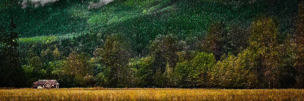 Nisqually Valley farm panorama digital painting - a farmhouse and pickup truck sit at the edge of a field while a forest in the background is painted by sunlight and shadow.