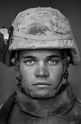 Lcpl. John Casiday, 21, Charleston, South Carolina, 1st Platoon, Kilo Co., 3rd Battalion 1st Marines, 1st Marine Division, United States Marine Corps, at the company's firm base in Haditha, Iraq on Sunday Oct. 22, 2005.